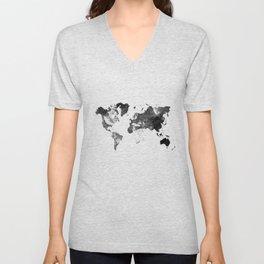 World map - desaturated Unisex V-Neck