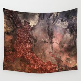 Copper Glitter Stone and Ink Abstract Gem Glamour Marble Wall Tapestry