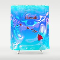 hawaii Shower Curtains featuring Hawaii Map by Roger Wedegis