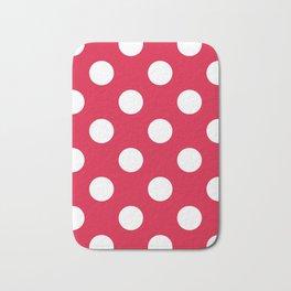 Large Polka Dots - White on Crimson Red Bath Mat