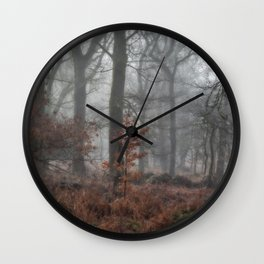 Misty Winter Woodland Wall Clock