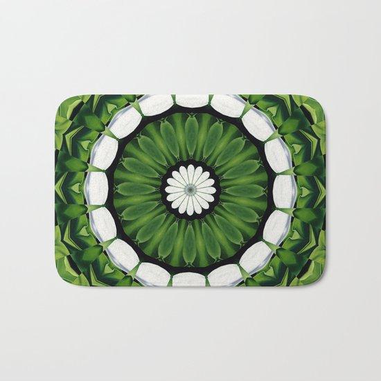 Tropical Green and White Floral Mandala Bath Mat