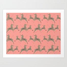 Royal Tenenbaums Zebra Wallpaper - Pink Art Print