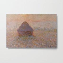Grainstack, Sun in the Mist by Claude Monet Metal Print