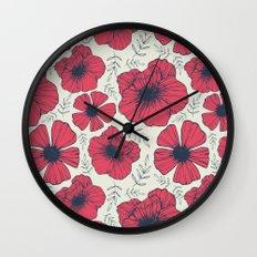 Raspberry Flowers Wall Clock