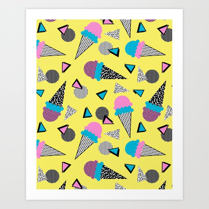 Cruncher - memphis throwback ice cream cone desert 1980s 80s style retro geometric neon pop art Kunstdrucke