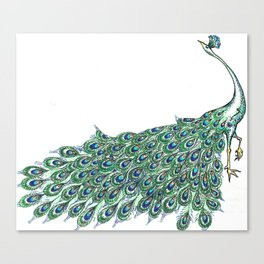 My Peacock Art in Teals and Blues Canvas Print