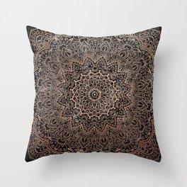 Mandala - rose gold and black marble 3 Throw Pillow