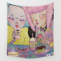 breakfast Wall Tapestries featuring Breakfast Babes by lOll3