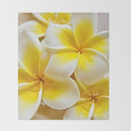 Plumeria Blossoms Throw Blanket