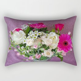 Flowers in a vase - pink gerberas, carnations, daisies, red and white roses Rectangular Pillow