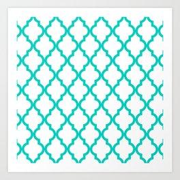 Aqua Moroccan Quatrefoil Pattern Art Print