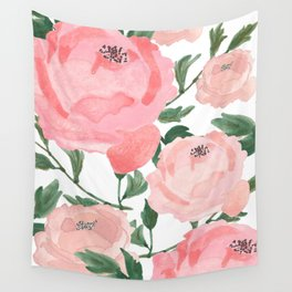 Peony Watercolor Collage Wall Tapestry