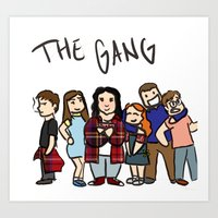 my mad fat diary Art Prints featuring My Mad Fat Diary: The gang by Lisa France