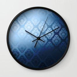 """Navy blue Damask Pattern"" Wall Clock"