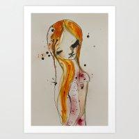 redhead Art Prints featuring redhead by SannArt