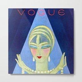 1927 Vintage Art Deco Flapper Young Woman Winter Magazine Cover by Eduardo Garcia Benito Metal Print