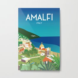 Amalfi Italy vintage travel poster city Metal Print