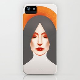somber girl in gold and grey. iPhone Case
