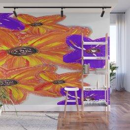 ORANGE & PURPLE FLORAL Wall Mural