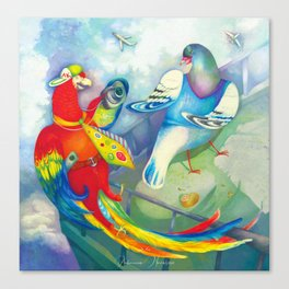 birds on the roof illustration Canvas Print
