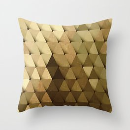 Triangles Yellow Brown Olive Green Throw Pillow