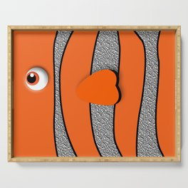 Orange ornamental fish cartoons Serving Tray