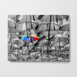 Colorful Umbrella Among Others Different From The Crowd Concept Metal Print