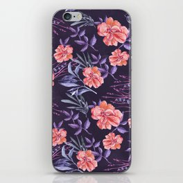 Modern hand painted violet pink coral watercolor floral iPhone Skin