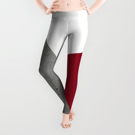 Concrete Burgundy Red White Leggings