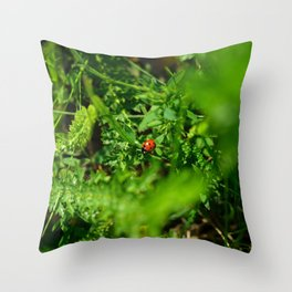 Ladybug in the grass Throw Pillow