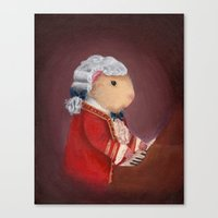 guinea pig Canvas Prints featuring Guinea Pig Mozart by When Guinea Pigs Fly