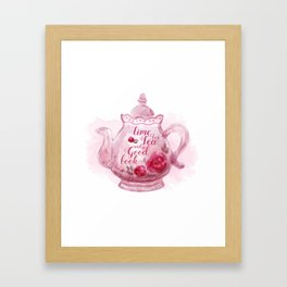 Time for tea and a good book Framed Art Print