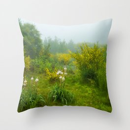 Green forest after raining Throw Pillow