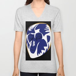The blue baboon animal portrait Unisex V-Neck