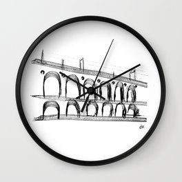 Arch Lapa painted line-art_ Rio de Janeiro_ Black & White Wall Clock
