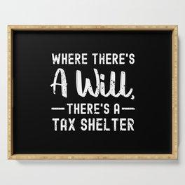 Financial Accounting Humor Tax Shelter Joke CPA Tax Advisor Serving Tray