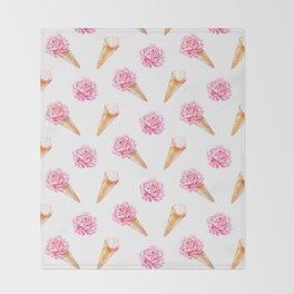 Floral Cones Throw Blanket
