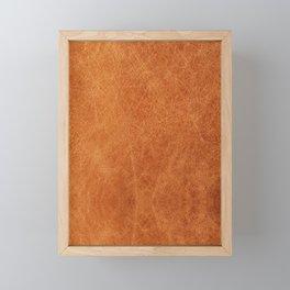 Farmhouse Style Original Camel Leather Oriental Design. Framed Mini Art Print