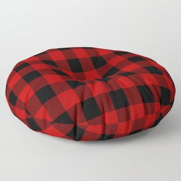 Red and black buffalo plaid pattern Floor Pillow