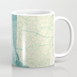 Massachusetts State Map Blue Vintage Coffee Mug