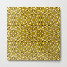 Moroccan pattern, Morocco. Patchwork mosaic with traditional folk geometric ornament black gold. Metal Print