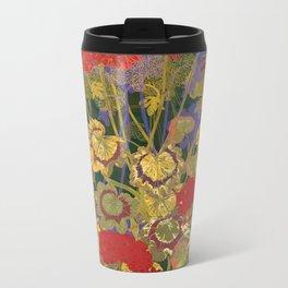 Red Geraniums Metal Travel Mug