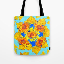Turquoise-gold Sunflowers Leaves Pattern Abstract Tote Bag