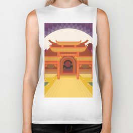 full moon vector japanese temple Biker Tank