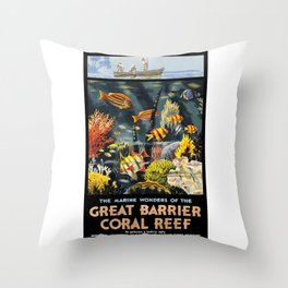 1933 Australia Great Barrier Coral Reef Travel Poster Throw Pillow