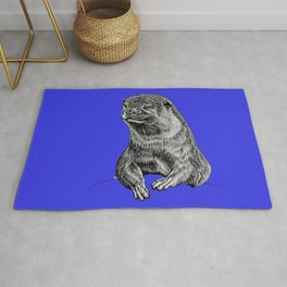 Oriental small clawed otter - ink illustration - blue Rug