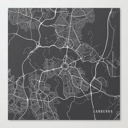Canberra Map, Australia - Gray Map Canvas Print