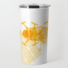 Explorer Schematic Orange On White Travel Mug