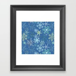 icy snowflakes on blue Framed Art Print